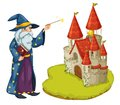 A wizard holding a book and a magic wand in front of the castle illustration on white background Stock Photography