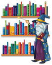A wizard holding a wand in front of the shelves with books illustration on white background Royalty Free Stock Image