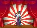 A wizard holding a wand in the middle of the stage illustration Stock Photos