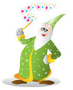Wizard an illustration is a holding his magic wand Stock Image