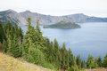 Wizard Island and crater lake Royalty Free Stock Image
