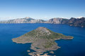 Wizard island in crater lake looking down on volcanic cone the deep blue waters of oregon Stock Image