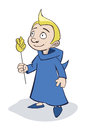 Wizard kid blue robe holding magic wand Royalty Free Stock Photos