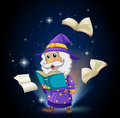 A wizard with many books illustration of Stock Images