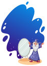 A wizard beside the mirror illustration of on white background Stock Image