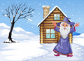 A wizard outside the house on a snowy season illustration of Stock Image