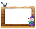 A wizard standing beside an empty board illustration of on white background Stock Photography