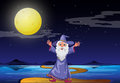 A wizard under the bright fullmoon illustration of Stock Photo