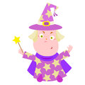 Wizard vector illustration of little with magic wand Stock Photography