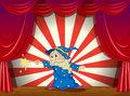 A wizard with a wand in the middle of the stage illustration Royalty Free Stock Photos