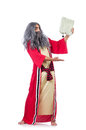 Wizard with water flask isolated on white Stock Photography