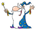 Wizard waving and cape holding a magic wand Stock Photos