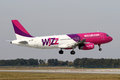Wizz air prague czech republic october airbus a lands at prg airport on october is a hungarian low cost airline Royalty Free Stock Photography