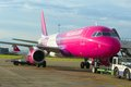 Wizzair aircraft is being prepared for take off at luton airport london Stock Images