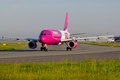 Wizzair at warsaw okecie airport photo presents plane of company photo taken f chopin Stock Images