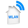 Wlan and house in blue a Stock Photography