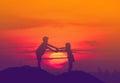 Wo children during sun set,