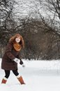 Woamn having fun in winter young beautiful woman park Royalty Free Stock Image