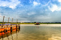 Woden boat sailing in holy ganga water at allahabad india asia Royalty Free Stock Photo