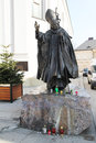 Wojtyla statue the of the pope john paul ii in his town wadowice in poland Stock Photo