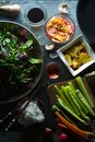 Wok, rice and vegetables for cooking sushi top view. Asian cuisine Royalty Free Stock Photo