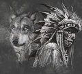 Wolf and american indian chief. Tattoo Royalty Free Stock Photo