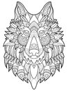 Wolf coloring book for adults vector illustration