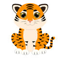 Wolf cute cartoon baby tiger seated Royalty Free Stock Photography
