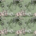 Wolf and dangerous forest seamless pattern