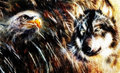 Wolf And Eagle Color Painting,...