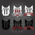 Wolf emblem version emblems black and white Royalty Free Stock Image