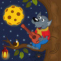 Wolf at full moon plays guitar Royalty Free Stock Photo