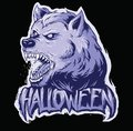 Wolf head and halloween text