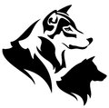 Wolf head profile outline and silhouette black and white design Stock Photo