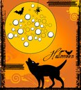 Wolf howing at the moon grunge elements bats and spider halloween concept Royalty Free Stock Photos