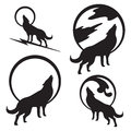 Wolf howling at full moon various options of a a bold silhouette would be great for use as part of a logo Stock Image