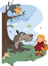 The wolf and the little red riding hood cartoon girl grey big with black sitting on a tree Stock Images