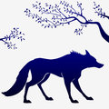Wolf outline illustration of dark blue silhouette of a Stock Photography