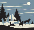 Wolf pack editable vector illustration of a howling at the moon Royalty Free Stock Images