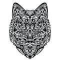 Wolf pattern in a shape of a on the white background Royalty Free Stock Photos