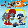 Wolf rabbit play hockey Royalty Free Stock Photo