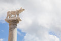 Wolf with romolo and remo tuscany italy statue of the legendary founders of rome Stock Images