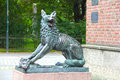 Wolf sculpture in trondheim city norway Stock Image