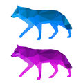 Wolf set isolated on white abstract polygonal geometric triangle painted in imaginary colors background bright illustration for Stock Image