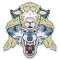 Wolf in sheep`s clothing, wolf mascot. vector graphic Royalty Free Stock Photo