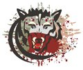 Wolf symbol with bloody splashes head an open mouth and the expressing aggression Royalty Free Stock Photography