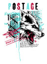 Wolf vector illustration ideal for printing on apparel clothes Stock Images