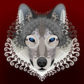 Wolfs face with swirls front view of wolf head round elements qualitative vector eps element for identity design branding tattoo Royalty Free Stock Image