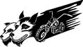 Wolfs and motorbike vector illustration vinyl ready design Stock Images