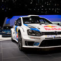 Wolkswagen polo wrc geneva th salon de lauto top car in the open raods of the world rally championship this racecar was exposed at Stock Photo